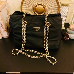Authentic Quilted Prada Tote with gold chains